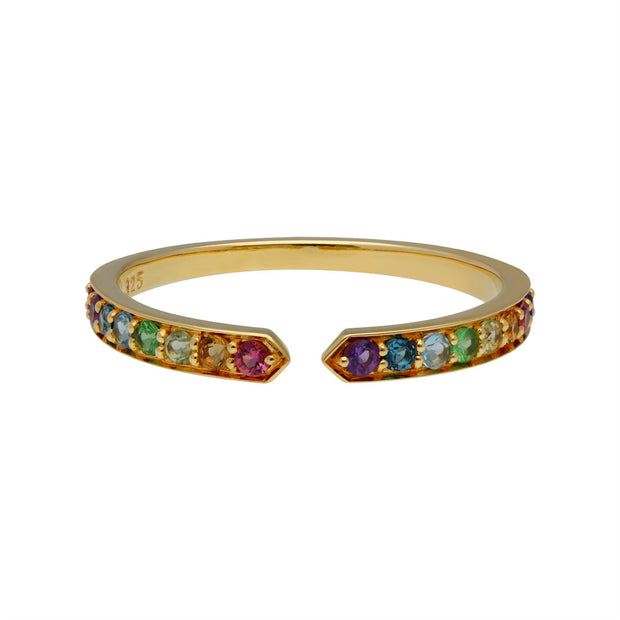 Rainbow Gemstone Open Ring in Gold Plated Sterling Silver