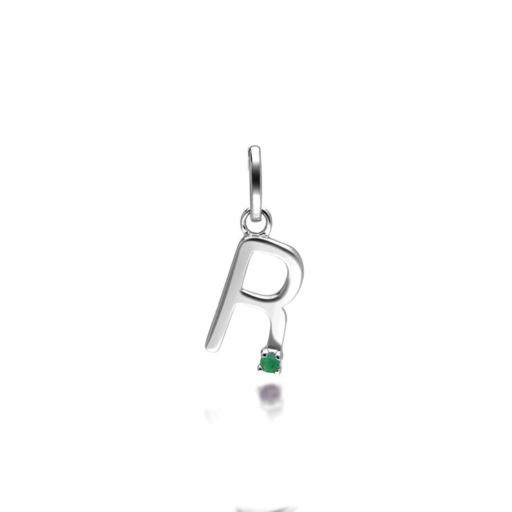 Initial R Emerald Letter Charm in 9ct White Gold