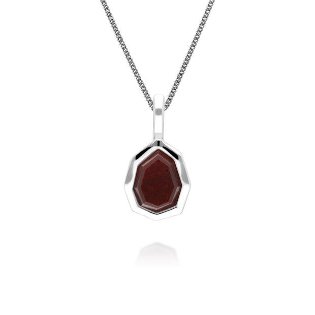 Irregular B Gem Red Jasper Pendant in 925 Sterling Silver