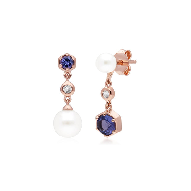Modern Pearl, Tanzanite & Topaz Mismatched Drop Earrings in Rose Gold Plated Sterling Silver