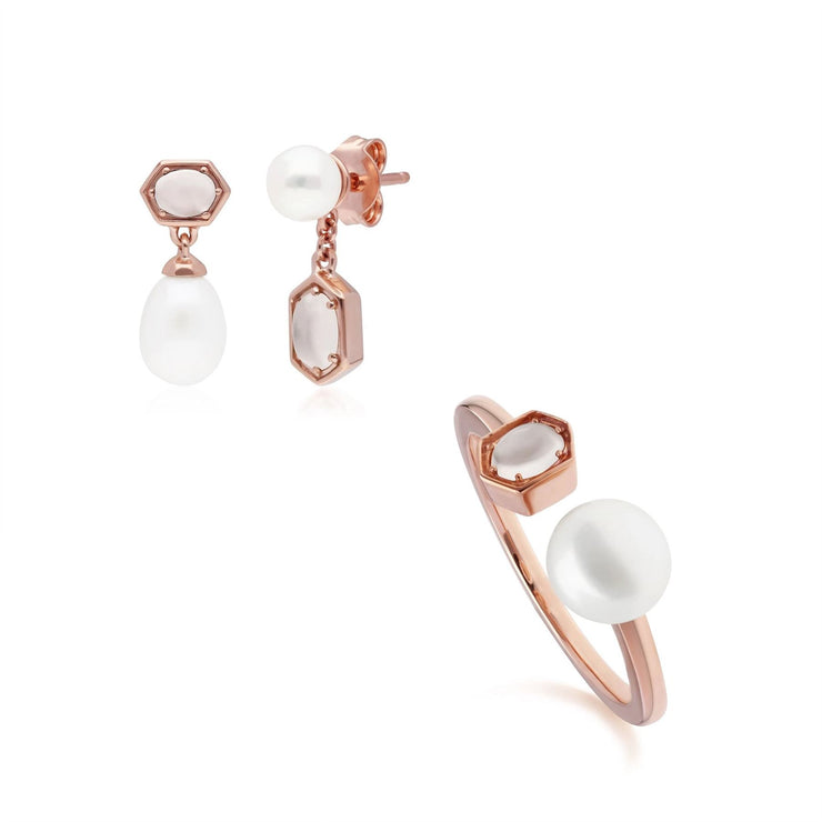 Modern Pearl & Moonstone Earring & Ring Set in Rose Gold Plated Sterling Silver