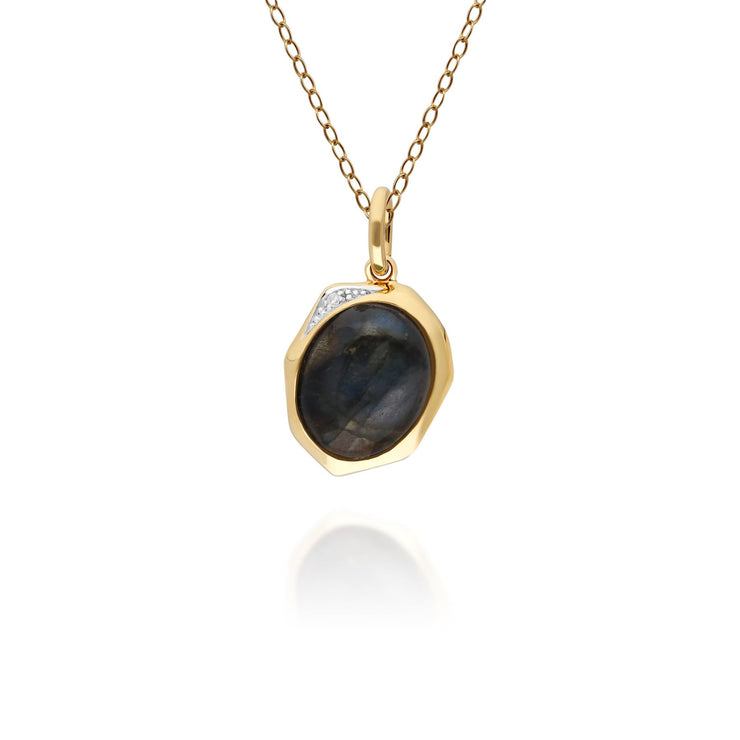 Irregular B Gem Labradorite & Diamond Pendant in Gold Plated Sterling Silver