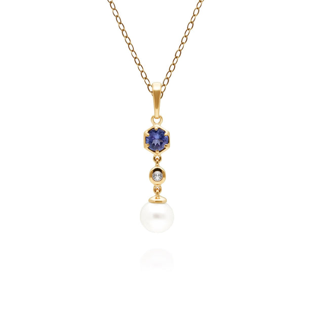 Modern Pearl, Tanzanite & Topaz Drop Pendant in Gold Plated Sterling Silver