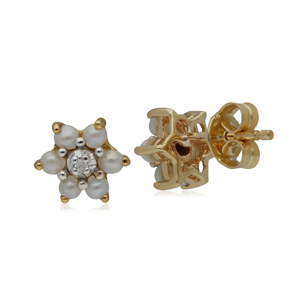 Classic Floral Pearl & Diamond Stud Earrings in 9ct Yellow Gold
