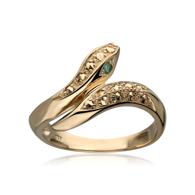Emerald Eye Marcasite Snake Ring in Gold Plated Sterling Silver