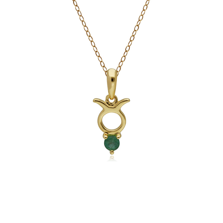 Emerald Taurus Zodiac Charm Necklace in 9ct Yellow Gold