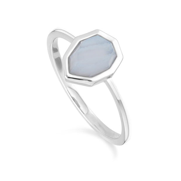 Irregular B Gem Blue Lace Agate Ring in 925 Sterling Silver