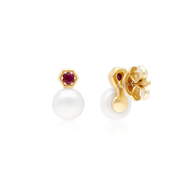 Modern Pearl & Ruby Stud Earrings in 9ct Yellow Gold