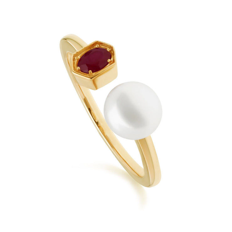 Modern Pearl & Ruby Open Ring in Gold Plated Sterling Silver