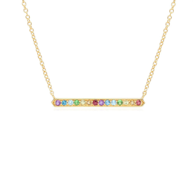 Rainbow Gemstone Bar Necklace in Gold Plated Sterling Silver