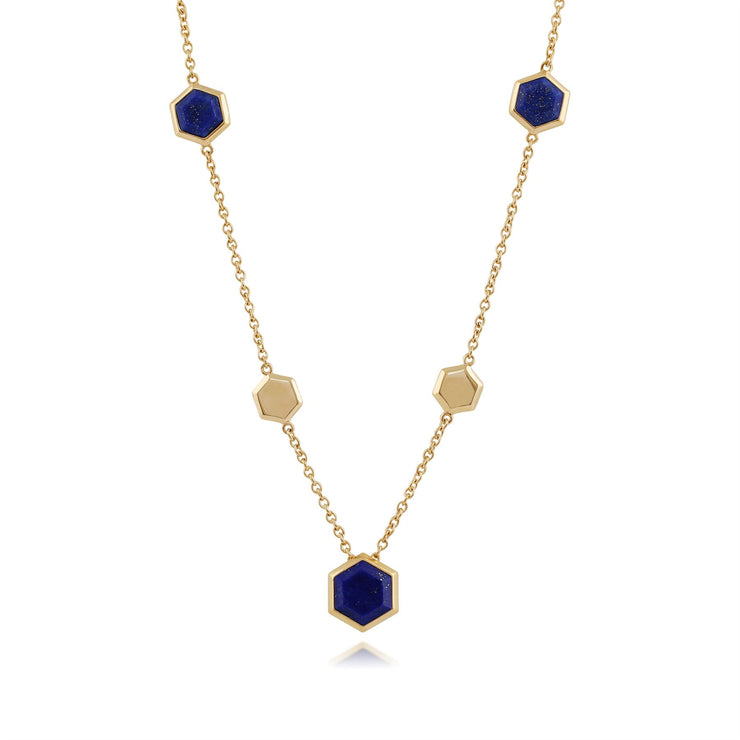 Geometric Hexagon lapiz Lazuli Necklace in Gold Plated 925 Sterling Silver