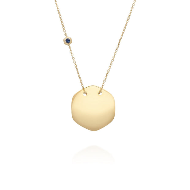 Sapphire Engravable Necklace in Yellow Gold Plated Sterling Silver