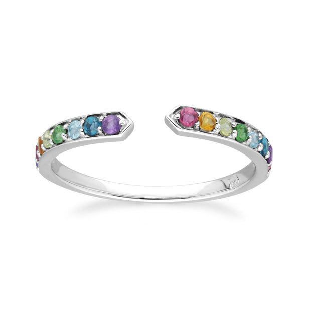 Rainbow Gemstone Open Ring in 925 Sterling Silver