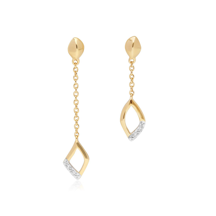 Mismatched Diamond Dangle Drop Earrings in 9ct Yellow Gold