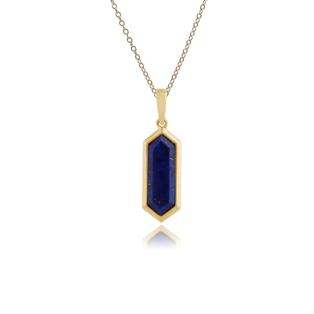 Geometric Hexagon Lapis Lazuli Prism Drop Pendant in Gold Plated Silver