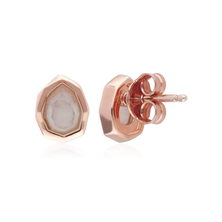 Irregular B Gem Rainbow Moonstone Stud Earrings in Rose Gold Sterling Silver Back