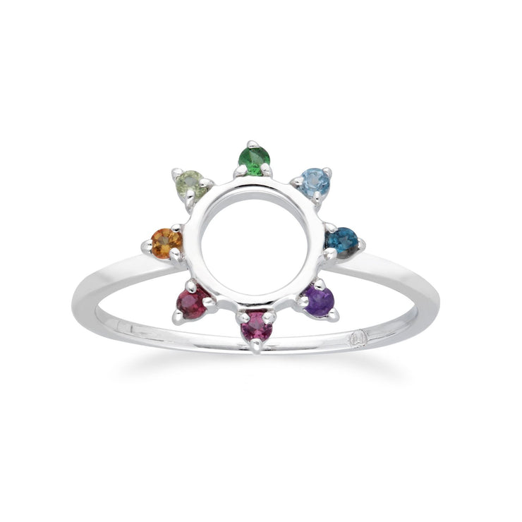 Rainbow Sunburst Ring in 925 Sterling Silver
