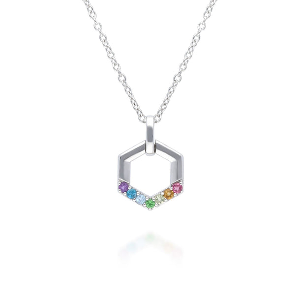 Rainbow Hexagon Necklace in 925 Sterling Silver