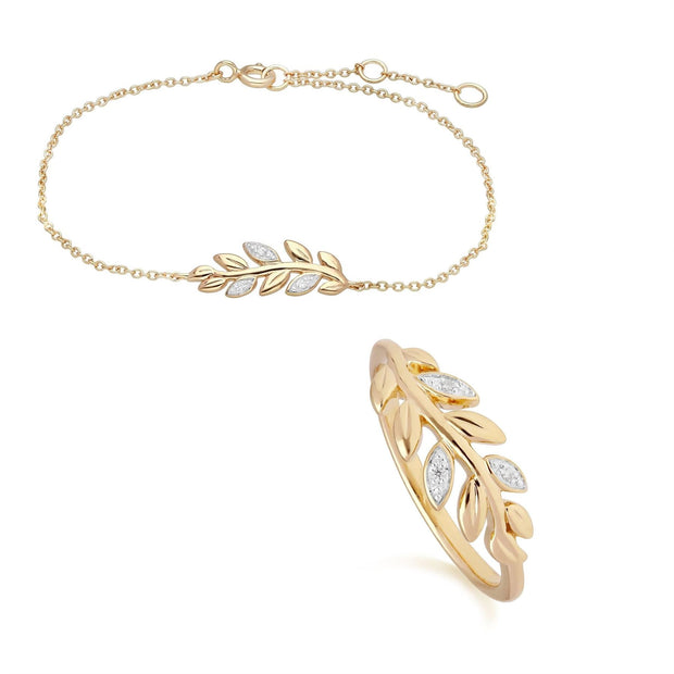 O Leaf Diamond Bracelet & Ring Set in 9ct Yellow Gold