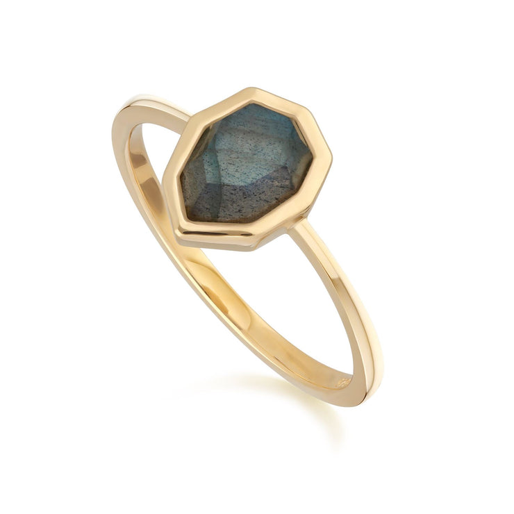 Irregular B Gem Labradorite Ring in Gold Plated Sterling Silver Side