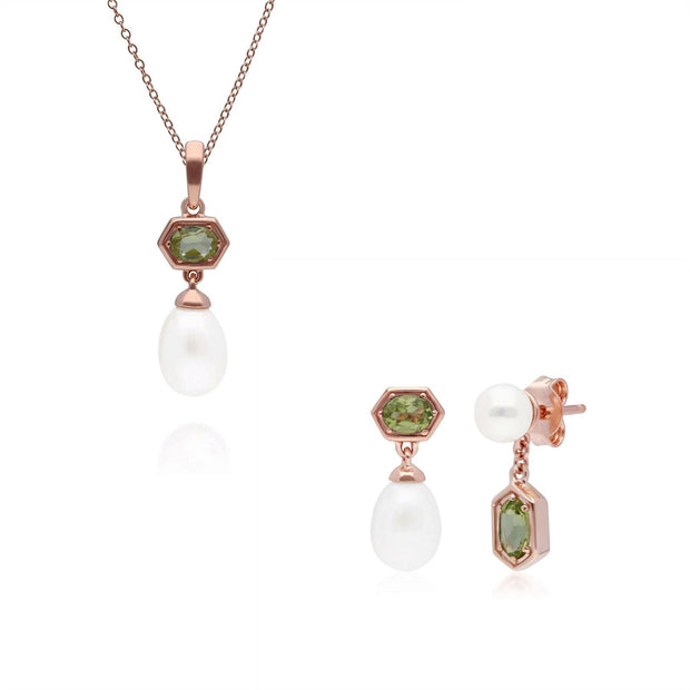 Modern Pearl & Peridot Pendant & Earring Set in Rose Gold Plated Sterling Silver