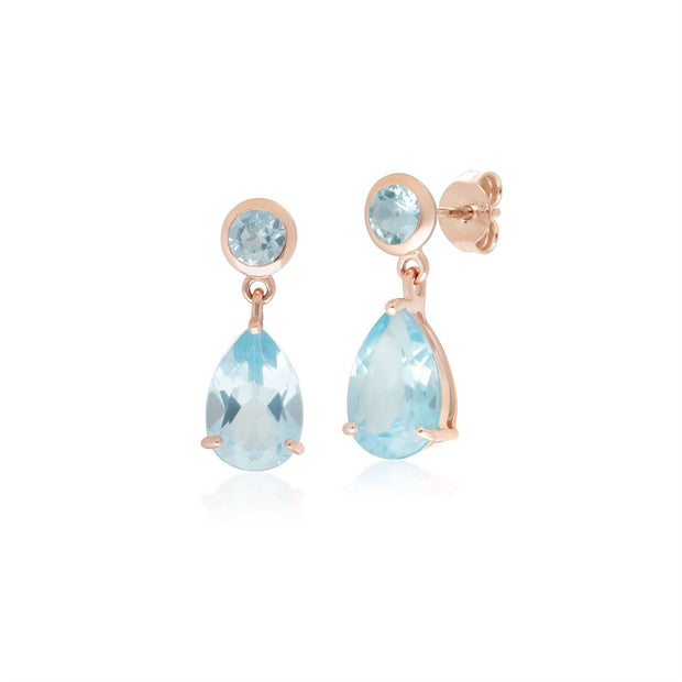 Classic Pear Blue Topaz Drop Earrings in 9ct Rose Gold