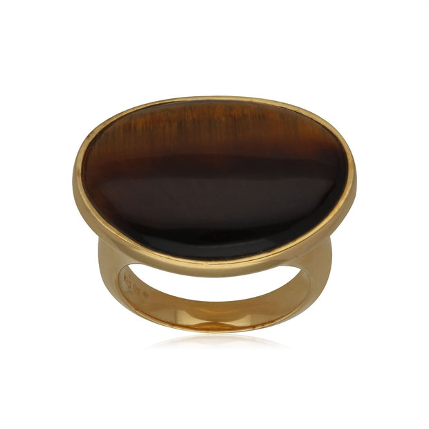 Kosmos Tiger's Eye Cocktail Ring in Gold Plated Sterling Silver