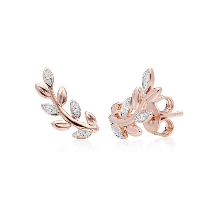 Olive Branch Leaf Diamond Stud Earrings in 9ct Rose Gold