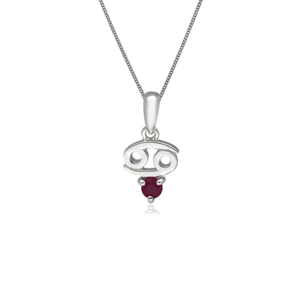 Ruby Cancer Zodiac Necklace in 9ct White Gold