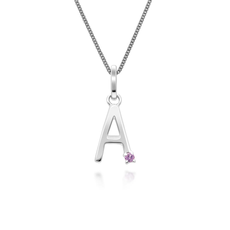 Initial A Pink Sapphire Letter Charm Necklace in 9ct White Gold