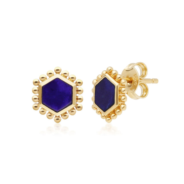 Lapis Lazuli Slice Stud Earrings in Yellow Gold Plated Sterling Silver
