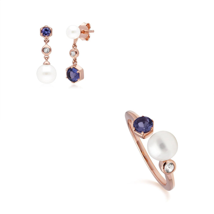 Modern Pearl, Tanzanite & Topaz Earring & Ring Set in Rose Gold Plated Sterling Silver
