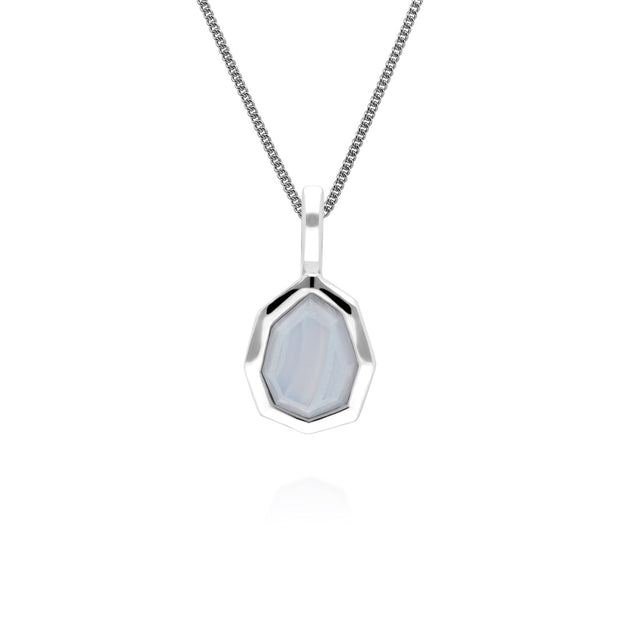 Irregular B Gem Blue Lace Agate Pendant in 925 Sterling Silver