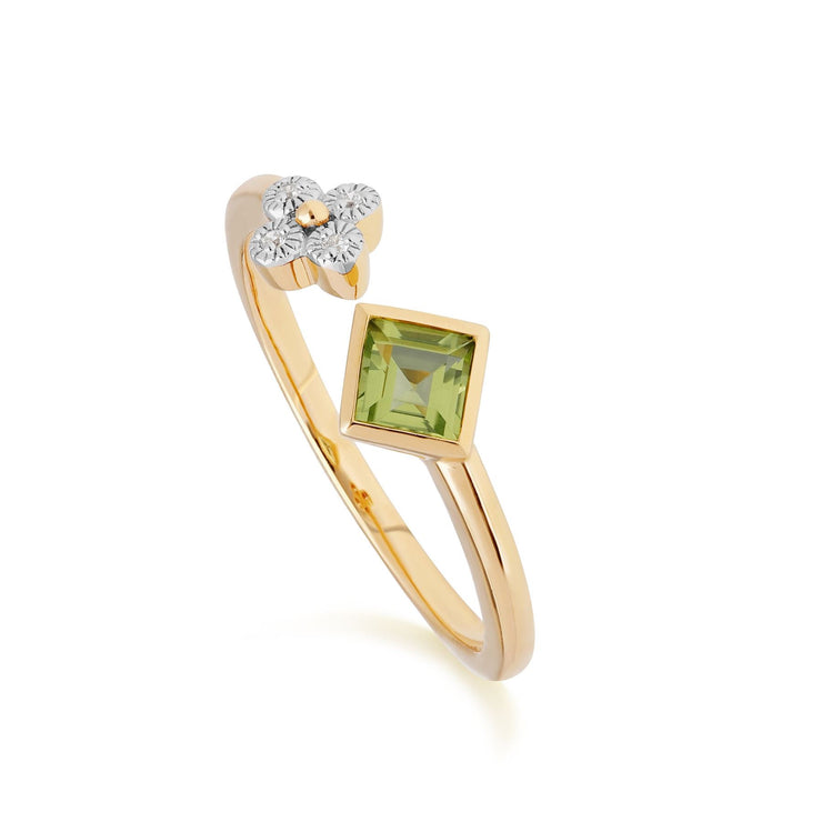 Contemporary Peridot & Diamond Open Ring in 9ct Yellow Gold
