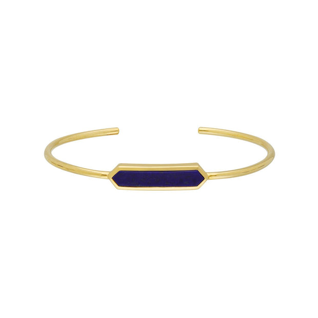 Geometric Prism Lapis Lazuli Bangle in Gold Plated Sterling Silver