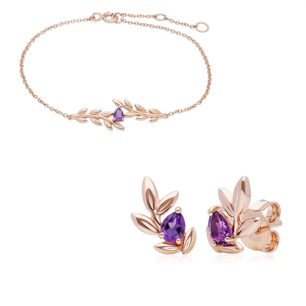 O Leaf Amethyst Bracelet & Earring Set in 9ct Rose Gold