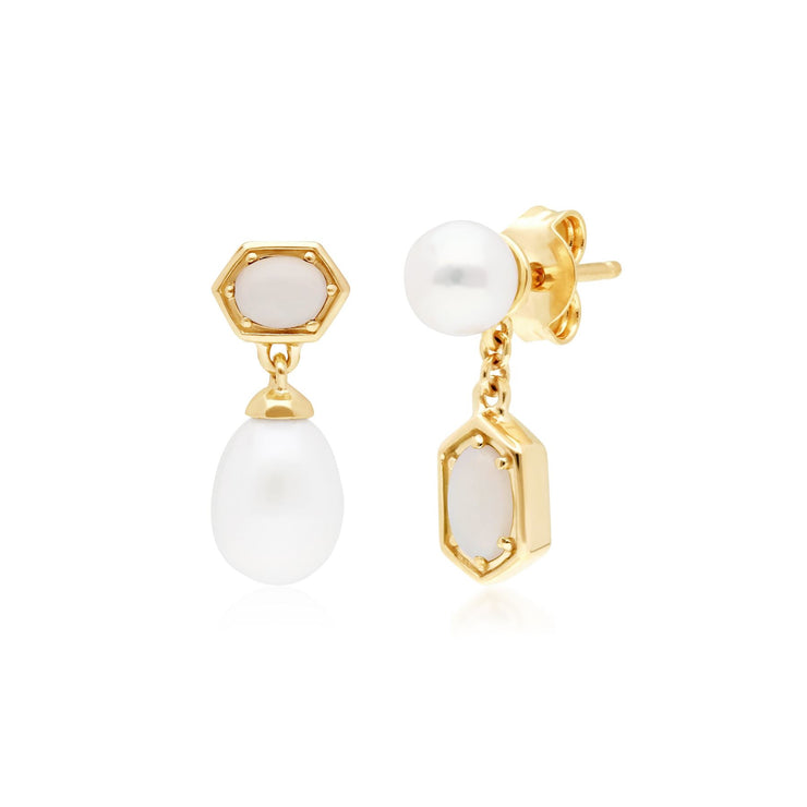 Modern Pearl & Opal Mismatched Drop Earrings in 9ct Yellow Gold