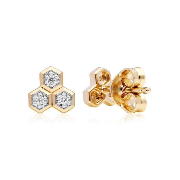 Diamond  Geometric Trilogy Stud Earrings in 9ct Yellow Gold