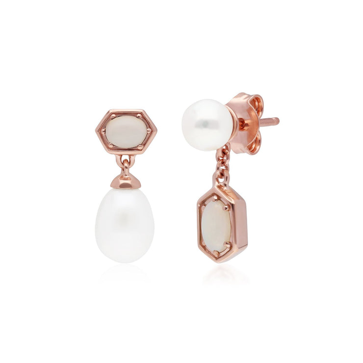 Modern Pearl & Opal Mismatched Drop Earrings in Rose Gold Plated Sterling Silver