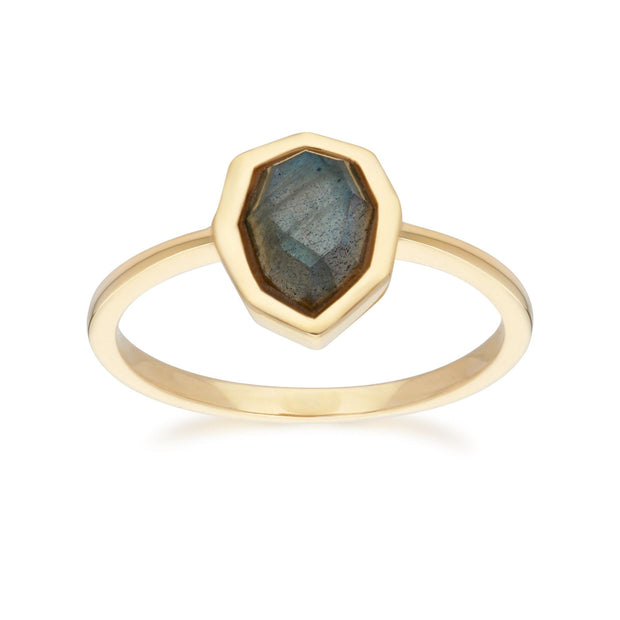 Irregular B Gem Labradorite Ring in Gold Plated Sterling Silver