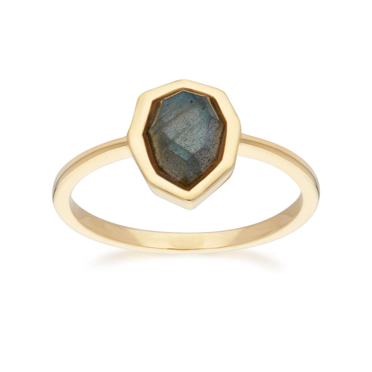 Irregular B Gem Labradorite Ring in Gold Plated Sterling Silver Front