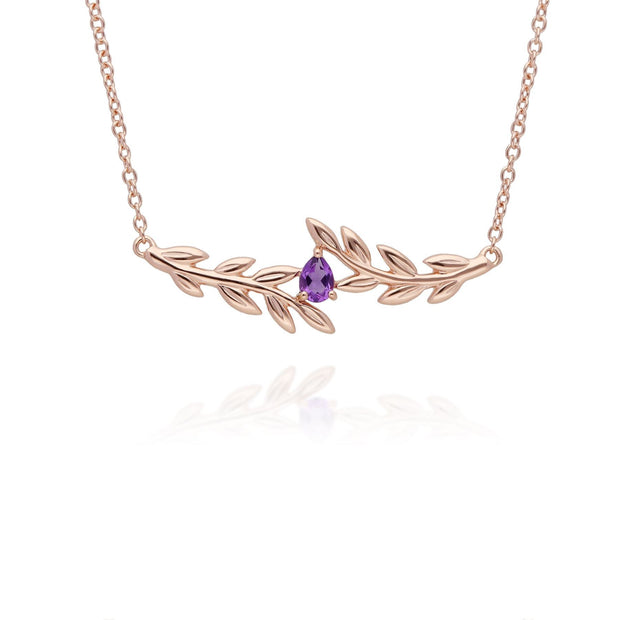 O Leaf Amethyst Necklace & Ring Set in 9ct Rose Gold