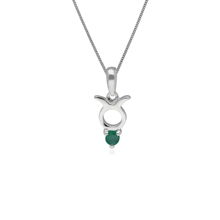 Emerald Taurus Zodiac Necklace in 9ct White Gold