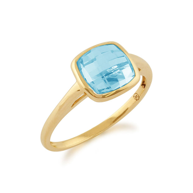 Square Blue Checkerboard Topaz 9ct Yellow Gold Square Ring