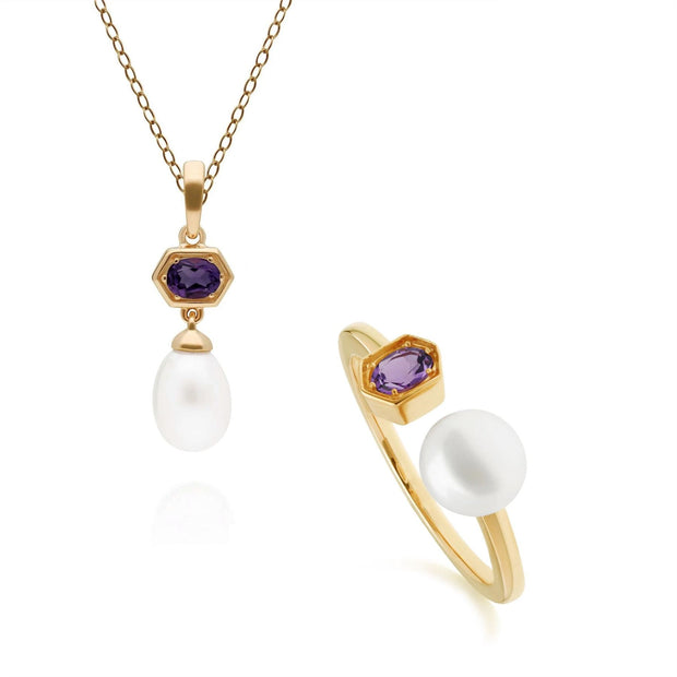 Modern Pearl & Amethyst Pendant & Ring Set in Gold Plated Sterling Silver