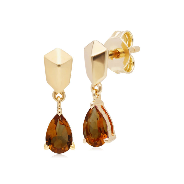 Micro Statement Citrine Earrings in Gold Plated Silver
