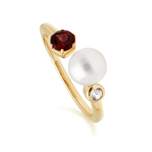 Modern Pearl, Garnet & Topaz Open Ring in Gold Plated Sterling Silver