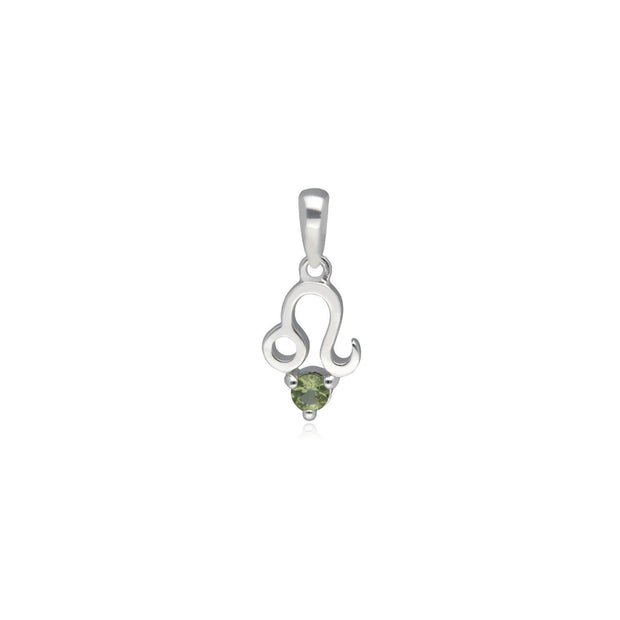 Peridot Leo Zodiac Charm Necklace in 9ct White Gold