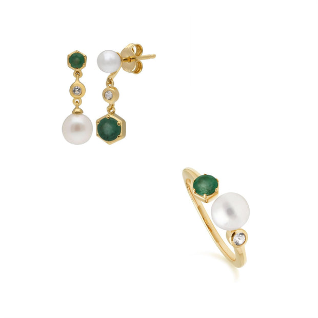 Modern Pearl, Topaz & Emerald Earring & Ring Set in Gold Plated Sterling Silver