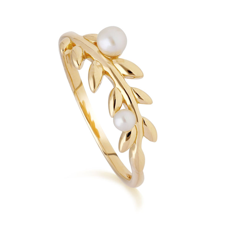 O Leaf Pearl Ring in Gold Plated Sterling Silver